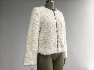 Short Milk Ladies Faux Fur Coats With Collarless and Metal Zip Through