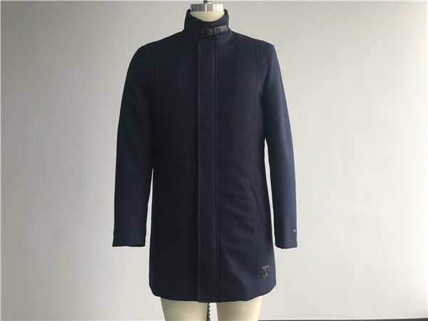 Mens Cavalry Twill Coat Navy Color With Funnel Collar Plastic Zip Through TW85493