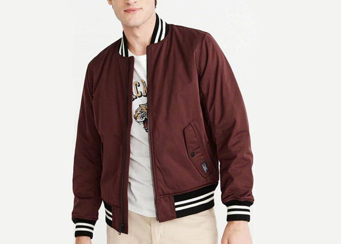 Burgundy Padded Mens Polyester Bomber Jacket Stirp Ribs Triacitate Coat Twin Needle Stitch